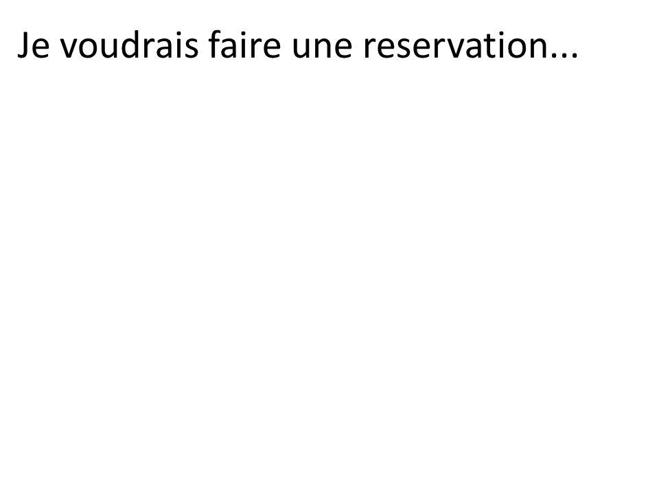 Je voudrais faire une reservation...