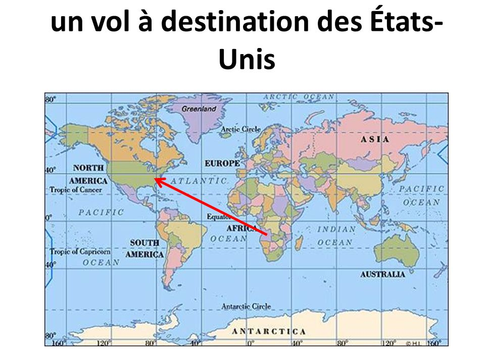 un vol à destination des États- Unis
