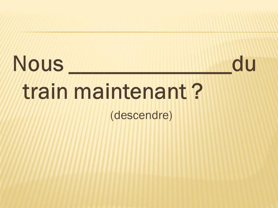 Nous ______________du train maintenant ? (descendre)