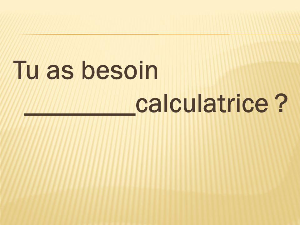 Tu as besoin ________calculatrice ?