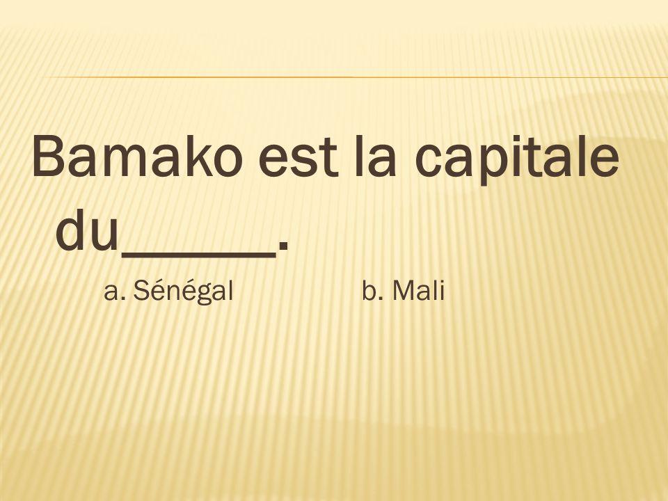Bamako est la capitale du_____. a. Sénégal b. Mali