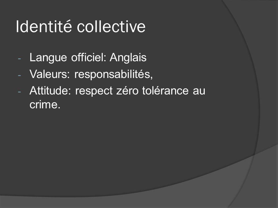 Identité collective - Langue officiel: Anglais - Valeurs: responsabilités, - Attitude: respect zéro tolérance au crime.