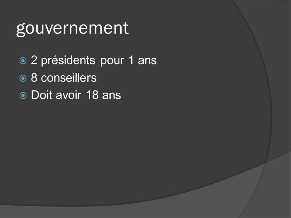 gouvernement 2 présidents pour 1 ans 8 conseillers Doit avoir 18 ans