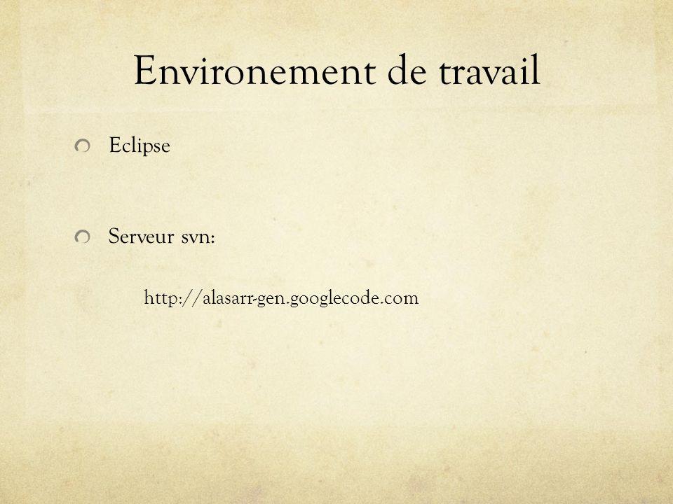 Environement de travail Eclipse Serveur svn: http://alasarr-gen.googlecode.com