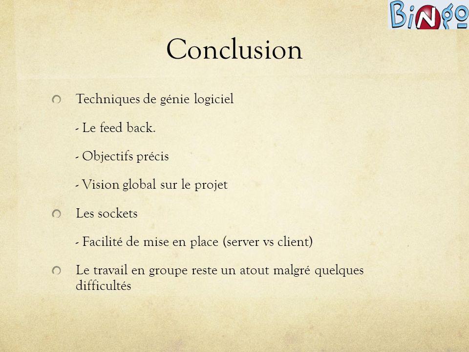 Conclusion Techniques de génie logiciel - Le feed back. - Objectifs précis - Vision global sur le projet Les sockets - Facilité de mise en place (serv