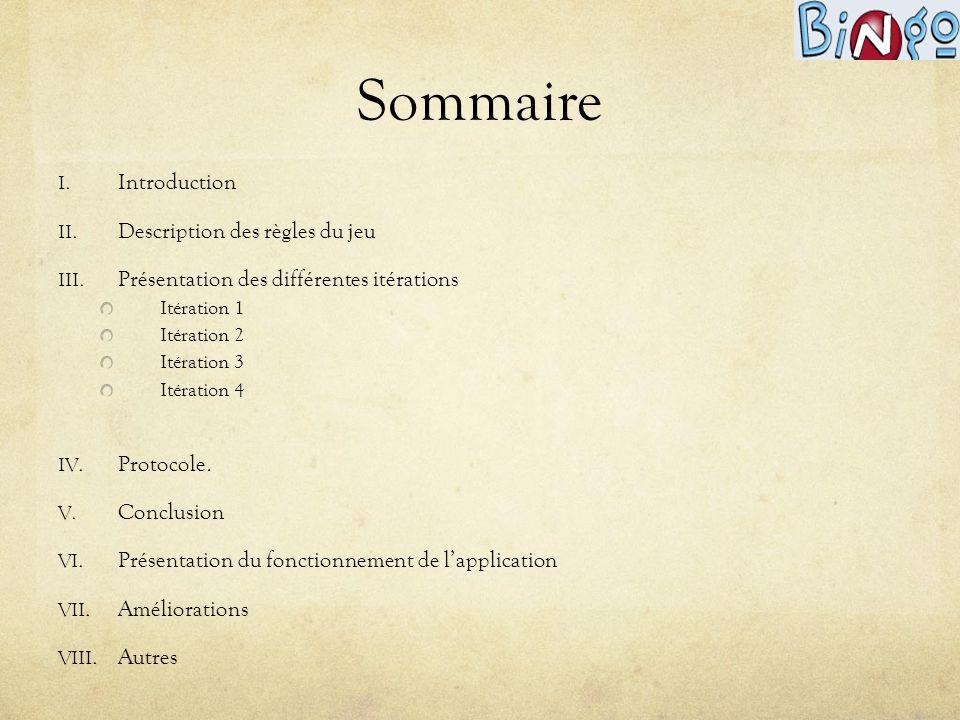 Sommaire I. Introduction II. Description des règles du jeu III. Présentation des différentes itérations Itération 1 Itération 2 Itération 3 Itération