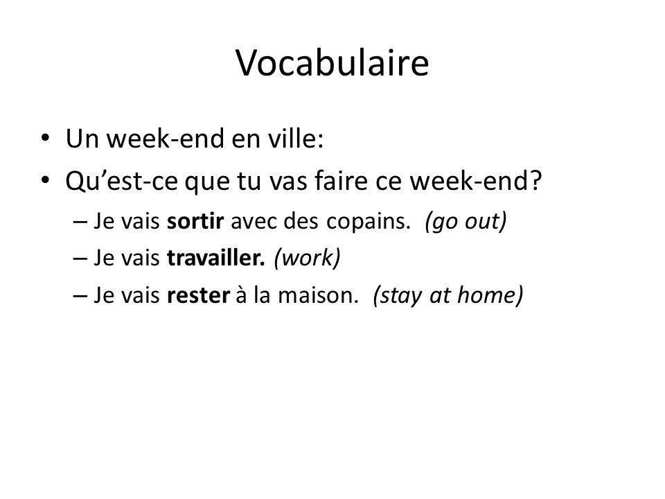 Vocabulaire Un week-end en ville: Quest-ce que tu vas faire ce week-end.