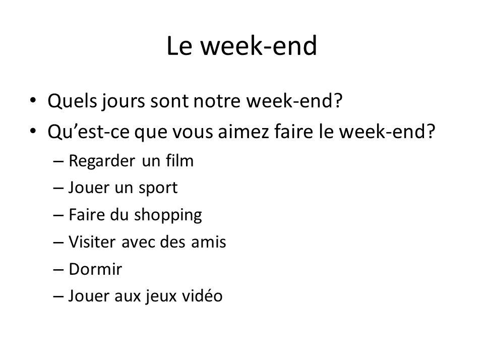 Les ados français Les jeunes Français profitent du week-end pour sortir (to go out).