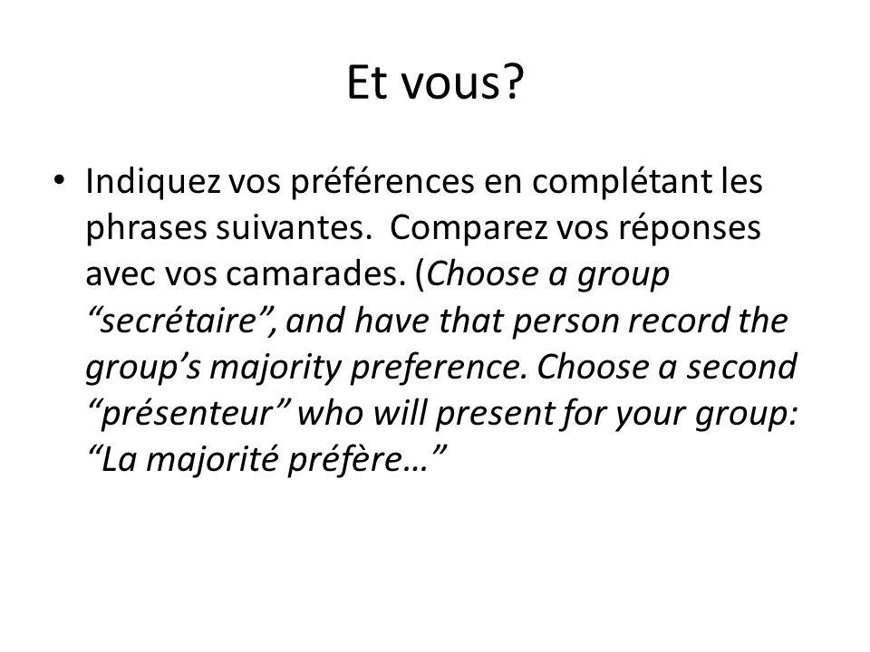 Et vous.Indiquez vos préférences en complétant les phrases suivantes.