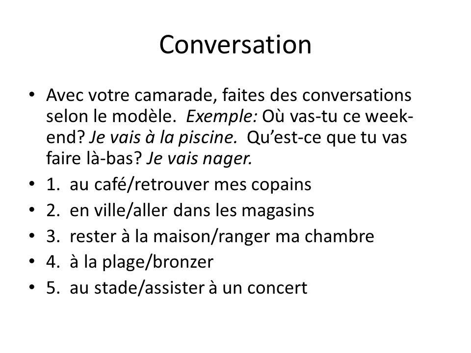 Conversation Avec votre camarade, faites des conversations selon le modèle.
