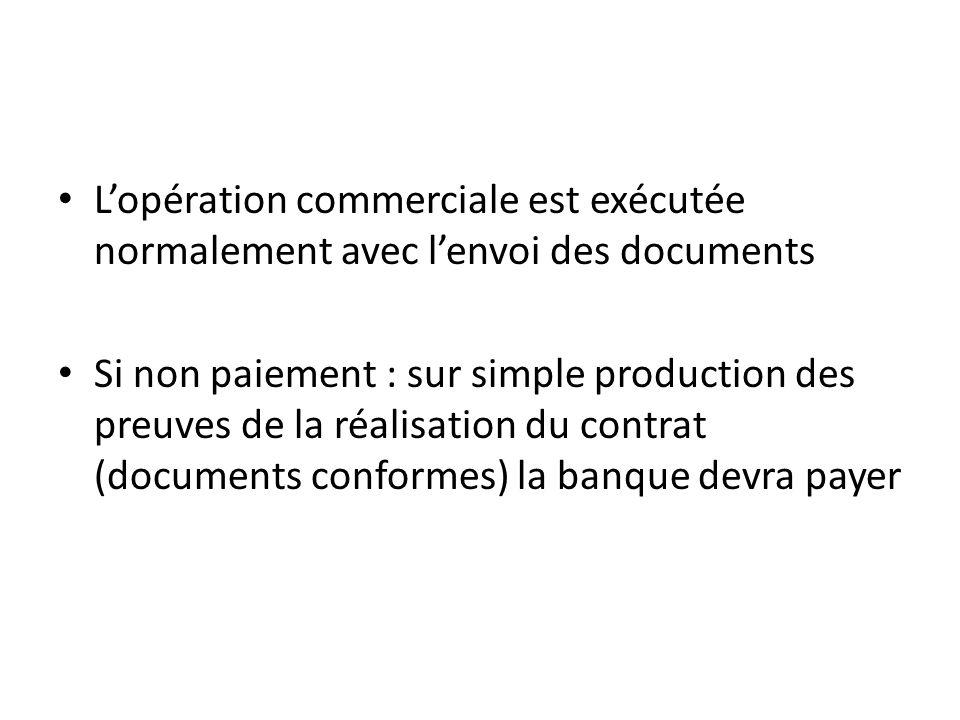 Lopération commerciale est exécutée normalement avec lenvoi des documents Si non paiement : sur simple production des preuves de la réalisation du contrat (documents conformes) la banque devra payer