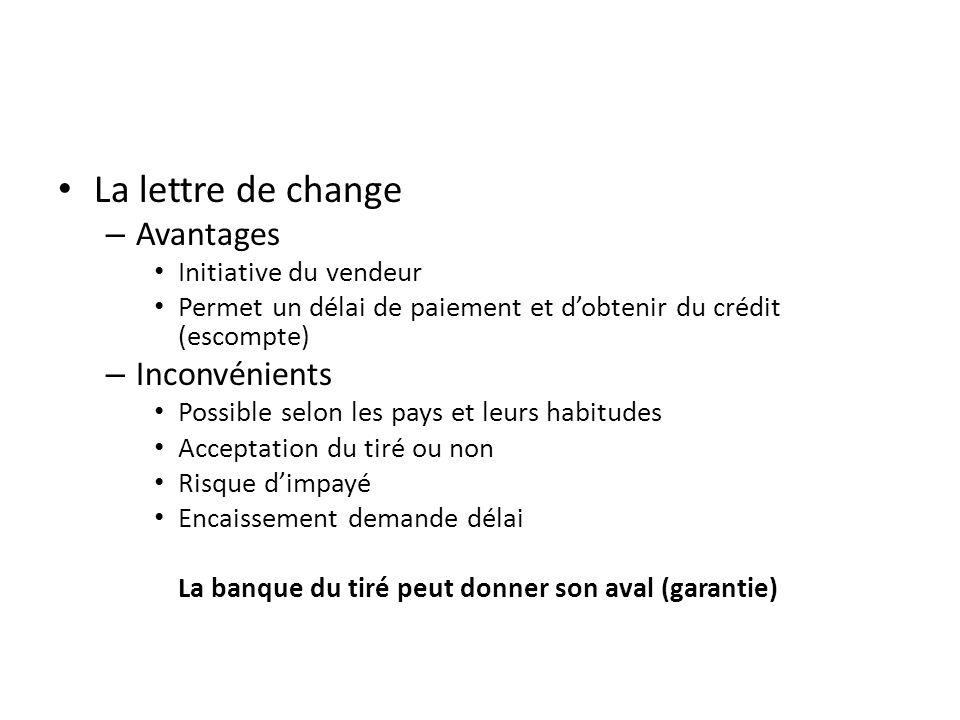 La lettre de change – Avantages Initiative du vendeur Permet un délai de paiement et dobtenir du crédit (escompte) – Inconvénients Possible selon les