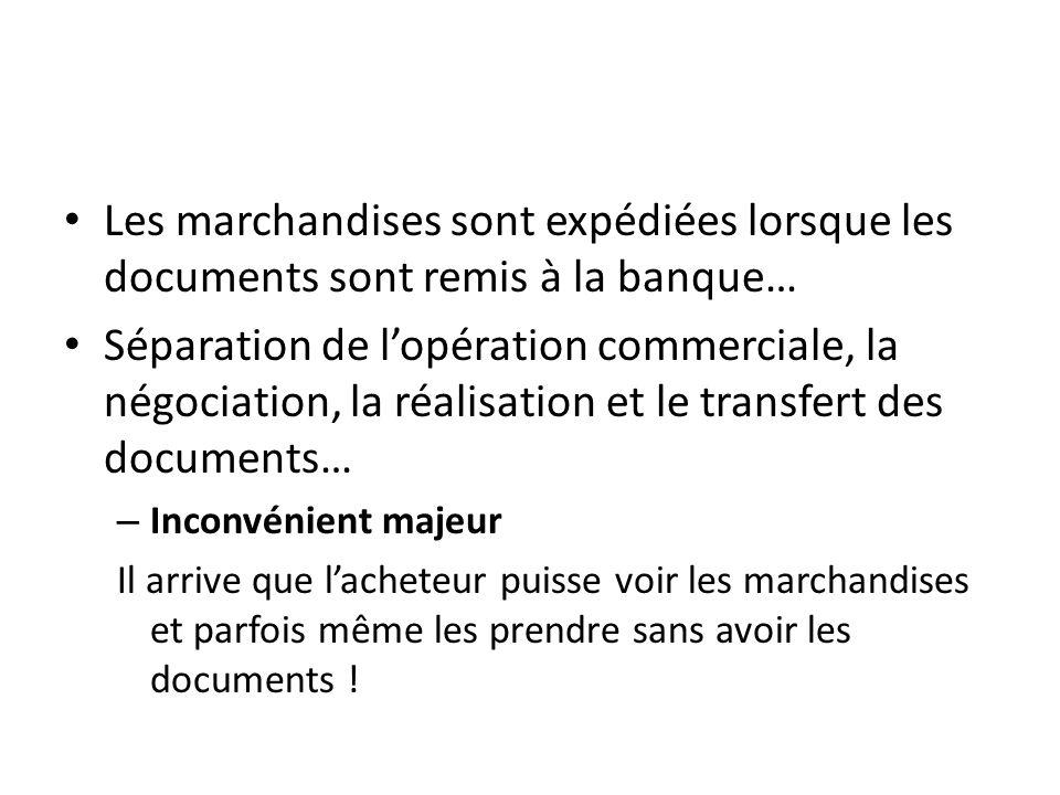 Les marchandises sont expédiées lorsque les documents sont remis à la banque… Séparation de lopération commerciale, la négociation, la réalisation et