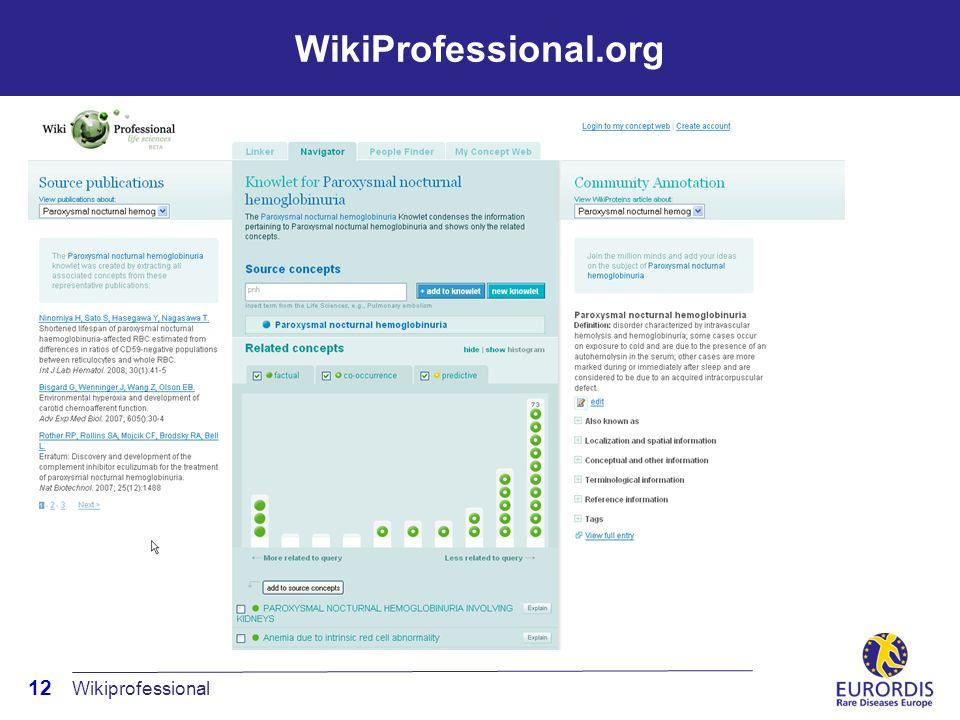 12 WikiProfessional.org Wikiprofessional