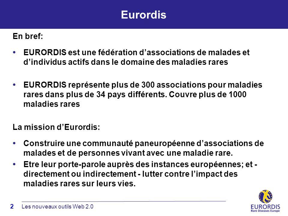 2 Eurordis En bref: EURORDIS est une fédération dassociations de malades et dindividus actifs dans le domaine des maladies rares EURORDIS représente plus de 300 associations pour maladies rares dans plus de 34 pays différents.
