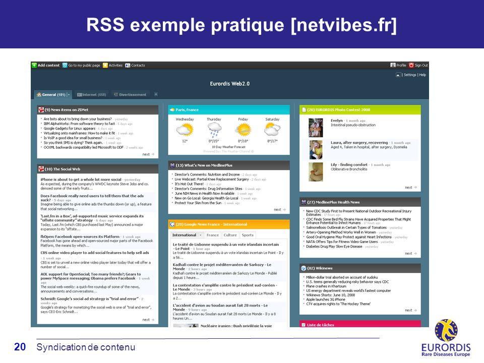 20 RSS exemple pratique [netvibes.fr] Syndication de contenu