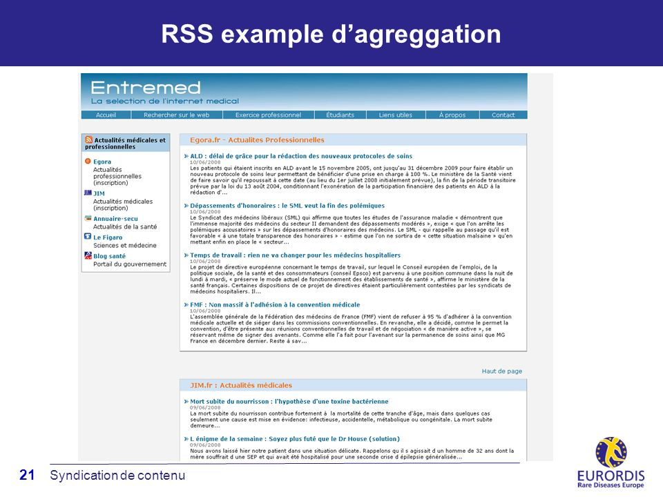 21 RSS example dagreggation Syndication de contenu