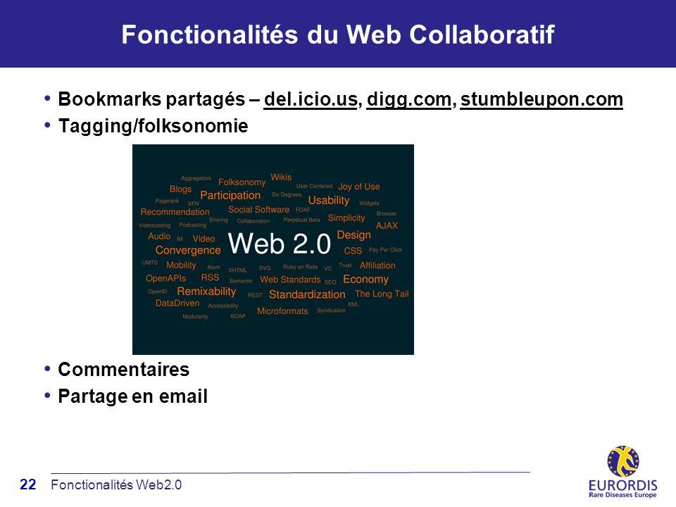 22 Fonctionalités du Web Collaboratif Bookmarks partagés – del.icio.us, digg.com, stumbleupon.com Tagging/folksonomie Commentaires Partage en email Fonctionalités Web2.0