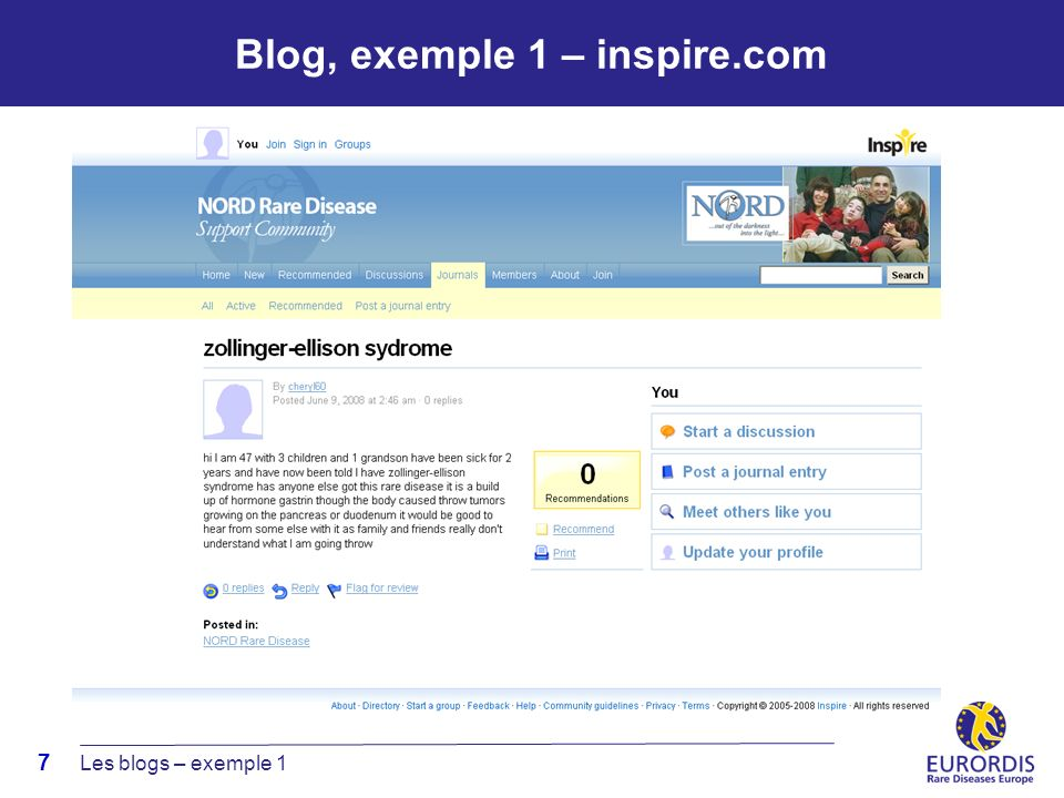 7 Blog, exemple 1 – inspire.com Les blogs – exemple 1