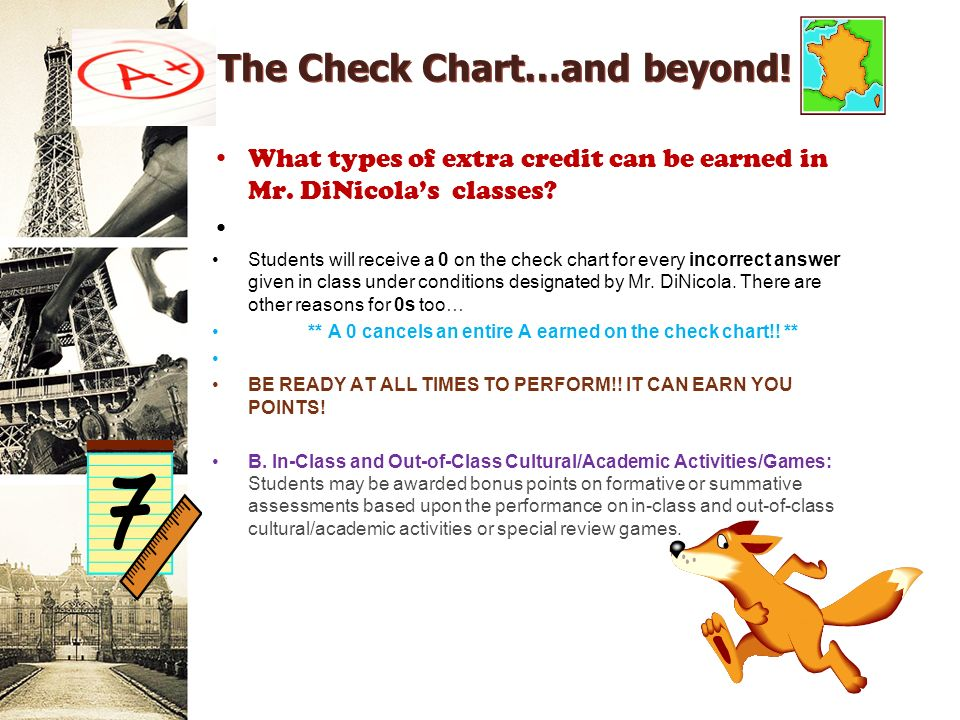The Check Chart…and beyond. What types of extra credit can be earned in Mr.
