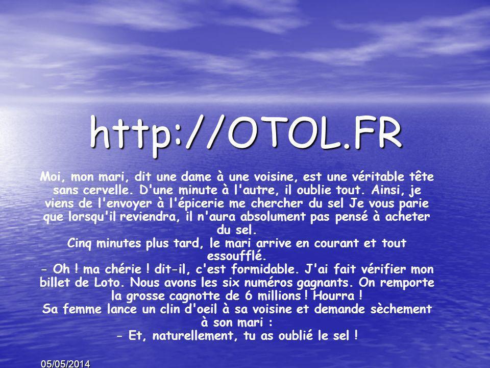 05/05/2014 http://OTOL.FR Moi, mon mari, dit une dame à une voisine, est une véritable tête sans cervelle.