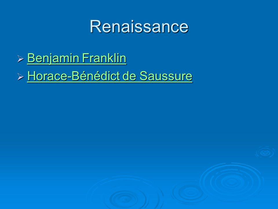 Renaissance Benjamin Franklin Benjamin Franklin Benjamin Franklin Benjamin Franklin Horace-Bénédict de Saussure Horace-Bénédict de Saussure Horace-Bénédict de Saussure Horace-Bénédict de Saussure