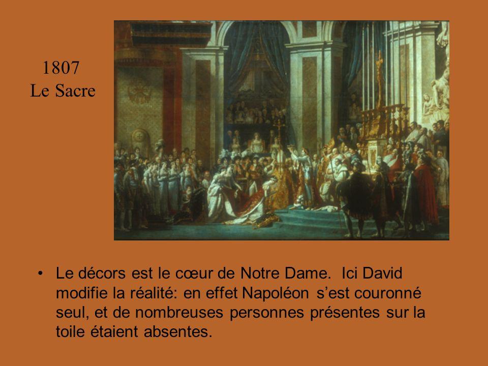 Le décors est le cœur de Notre Dame. Ici David modifie la réalité: en effet Napoléon sest couronné seul, et de nombreuses personnes présentes sur la t