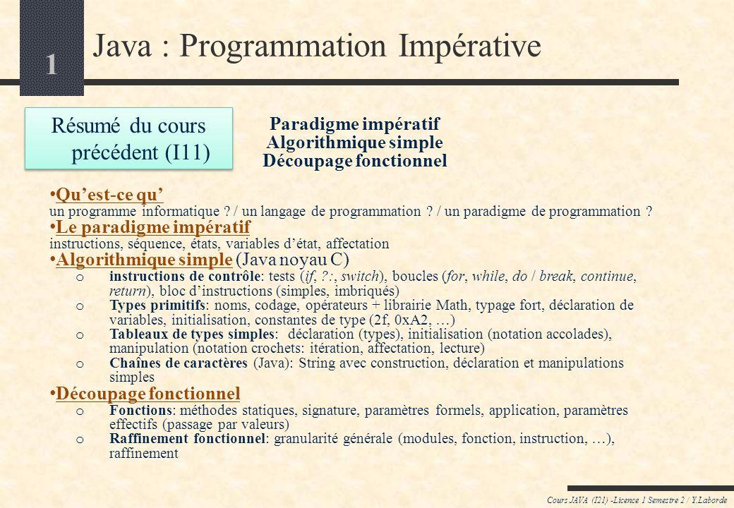 1 Cours JAVA (I21) -Licence 1 Semestre 2 / Y.Laborde Java : Programmation Impérative Paradigme impératif Algorithmique simple Découpage fonctionnel Quest-ce qu un programme informatique .