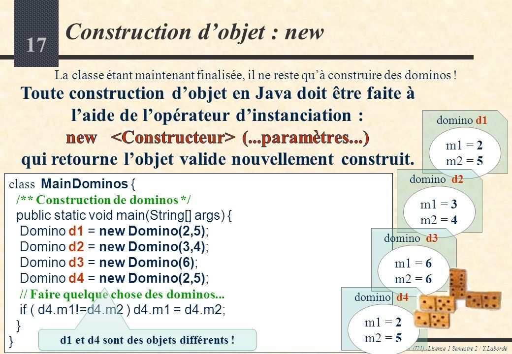 16 Constructeur dobjets (détail 3) Cours JAVA (I21) -Licence 1 Semestre 2 / Y.Laborde MAIS on peut aussi vouloir construire des dominos selon dautres schémas.