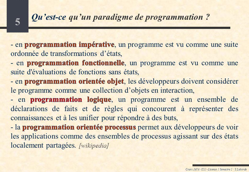 5 Quest-ce quun paradigme de programmation ? Cours JAVA (I21) -Licence 1 Semestre 2 / Y.Laborde