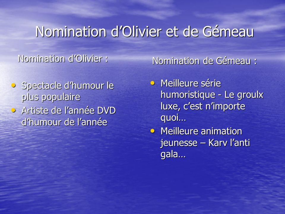 Nomination dOlivier et de Gémeau Nomination dOlivier et de Gémeau Spectacle dhumour le plus populaire Spectacle dhumour le plus populaire Artiste de l