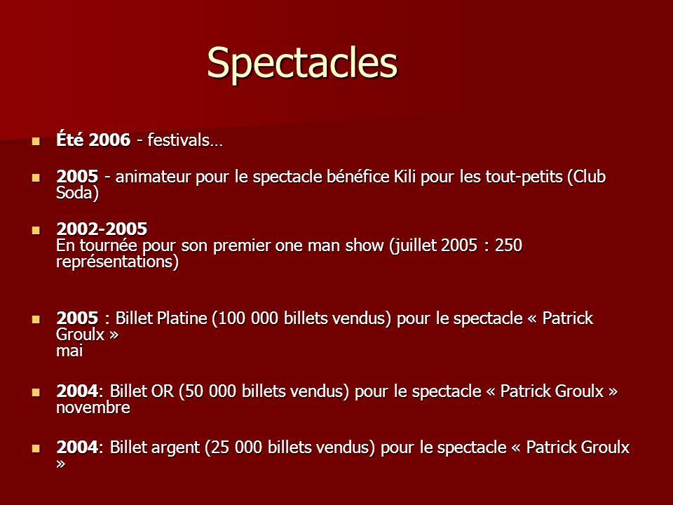 Spectacles Été 2006 - festivals… Été 2006 - festivals… 2005 - animateur pour le spectacle bénéfice Kili pour les tout-petits (Club Soda) 2005 - animat