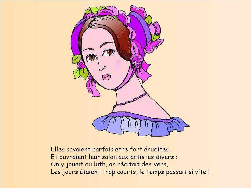 Etalant les splendeurs de sa robe brodée, Corsetée si serrée qu'elle respire à peine, Elle se dit que du bal aujourd'hui elle est reine Et veut que to