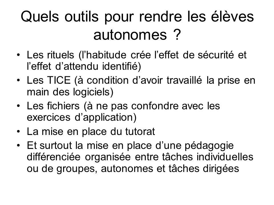 Quels outils pour rendre les élèves autonomes ? Les rituels (lhabitude crée leffet de sécurité et leffet dattendu identifié) Les TICE (à condition dav