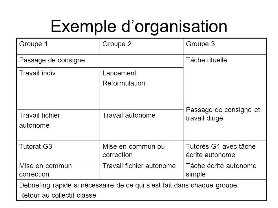 Exemple dorganisation Groupe 1Groupe 2Groupe 3 Passage de consigneTâche rituelle Travail indivLancement Reformulation Passage de consigne et travail d