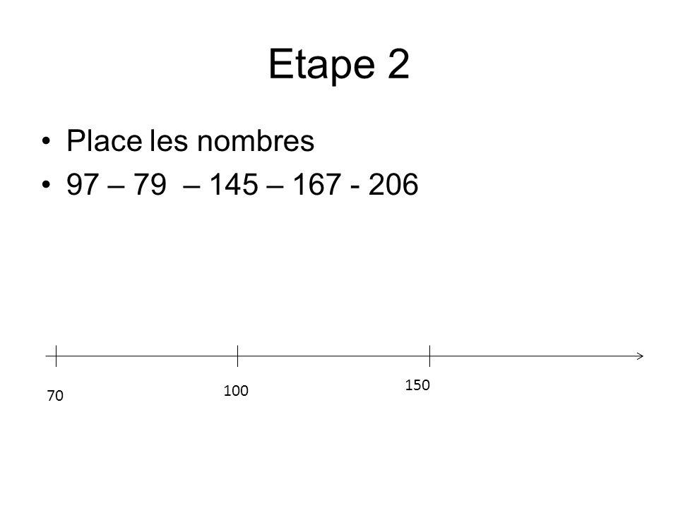 Etape 2 Place les nombres 97 – 79 – 145 – 167 - 206 70 150 100