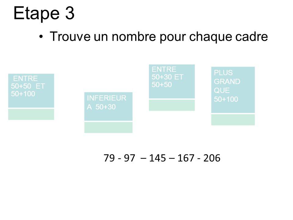 Etape 3 Trouve un nombre pour chaque cadre ENTRE 50+50 ET 50+100 ENTRE 50+30 ET 50+50 INFERIEUR A 50+30 PLUS GRAND QUE 50+100 79 - 97 – 145 – 167 - 20