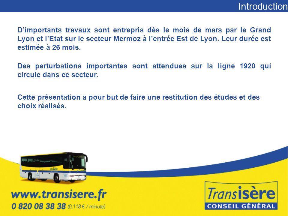 Introduction Dimportants travaux sont entrepris dès le mois de mars par le Grand Lyon et lEtat sur le secteur Mermoz à lentrée Est de Lyon.