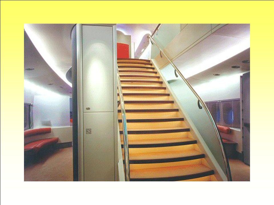 Grand Escalier. L'avion étant équipé de deux ponts, plusieurs escaliers sont prévus pour la circulation des passagers et de l'équipage. L'étage inféri