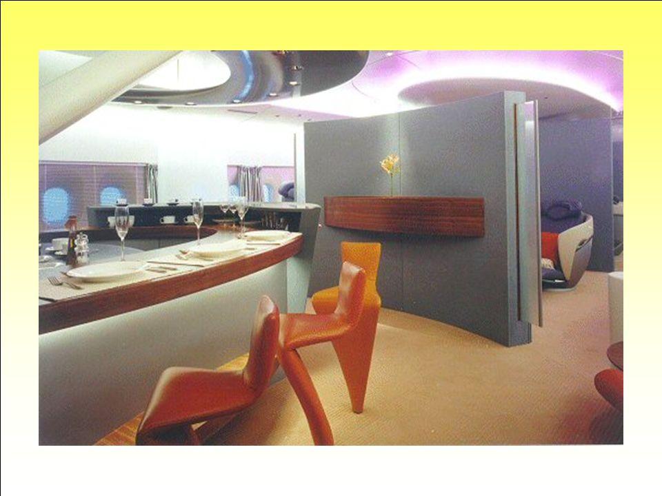 Bar et restaurant… Grâce à la taille de l'avion, les compagnies aériennes pourront choisir des aménagements qui s'apparentent à ceux d'un paquebot. Ic