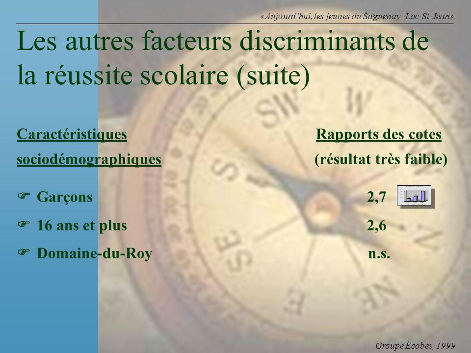 Groupe Écobes, 1999 «Aujourdhui, les jeunes du Saguenay Lac-St-Jean» Caractéristiques Rapports des cotes sociodémographiques (résultat très faible) Garçons2,7 16 ans et plus2,6 Domaine-du-Roy n.s.