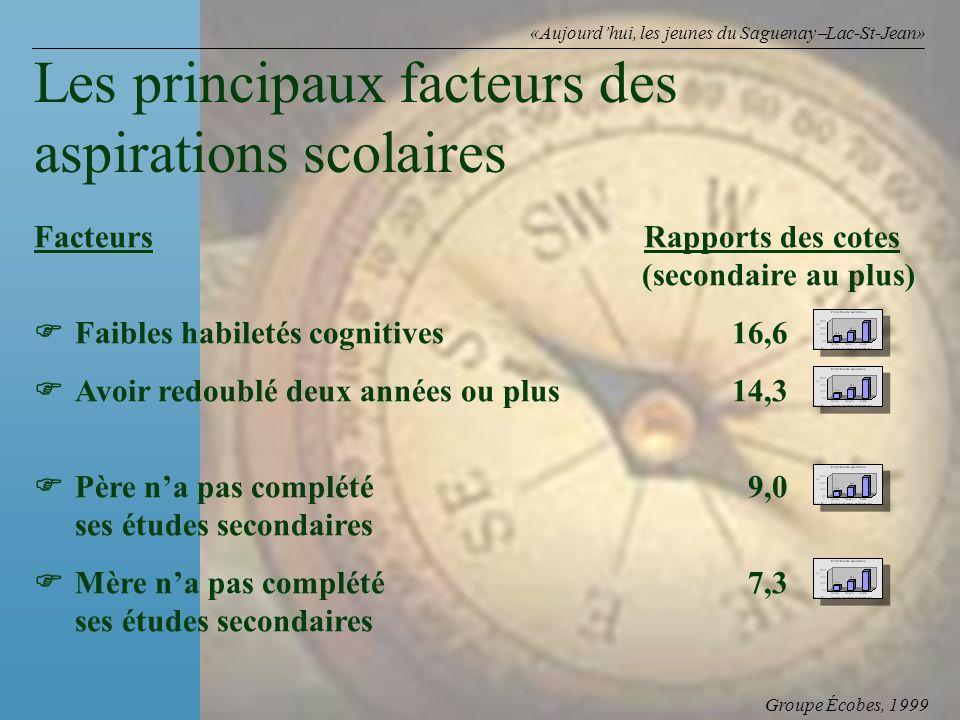 Groupe Écobes, 1999 «Aujourdhui, les jeunes du Saguenay Lac-St-Jean» FacteursRapports des cotes (secondaire au plus) Faibles habiletés cognitives16,6