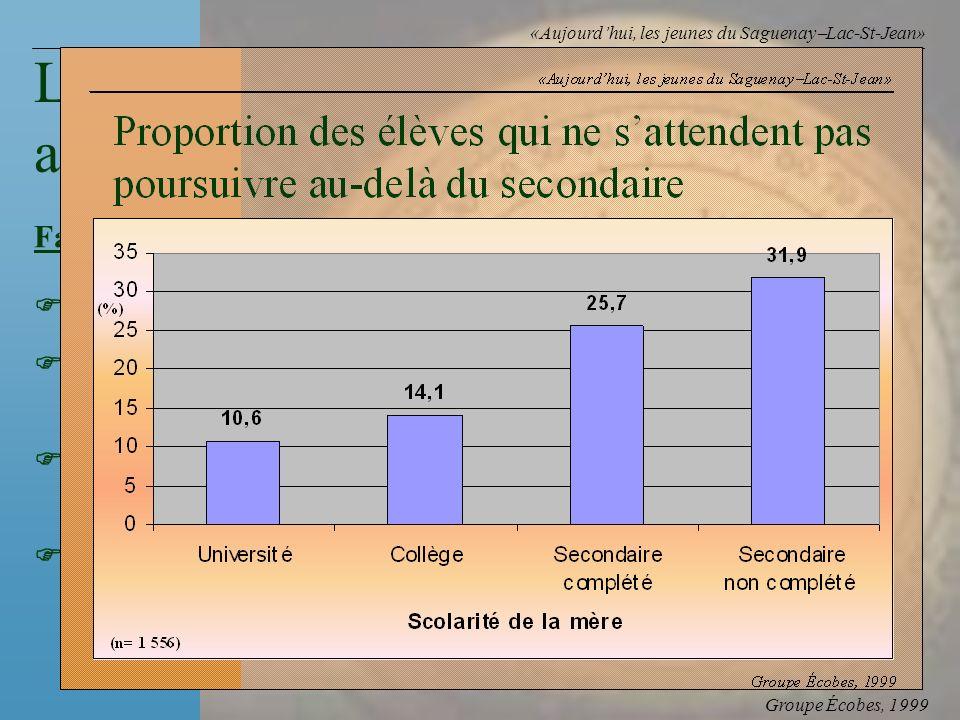 Groupe Écobes, 1999 «Aujourdhui, les jeunes du Saguenay Lac-St-Jean» FacteursRapports des cotes Faibles habiletés cognitives16,6 Avoir redoublé deux a