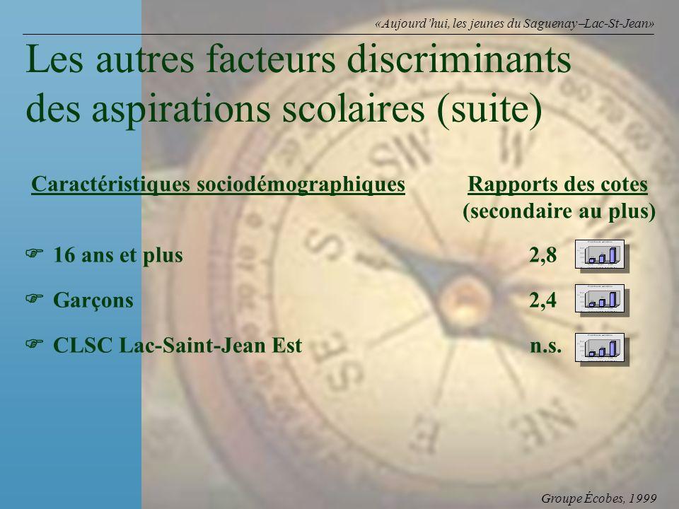 Groupe Écobes, 1999 «Aujourdhui, les jeunes du Saguenay Lac-St-Jean» Caractéristiques sociodémographiques Rapports des cotes (secondaire au plus) Les