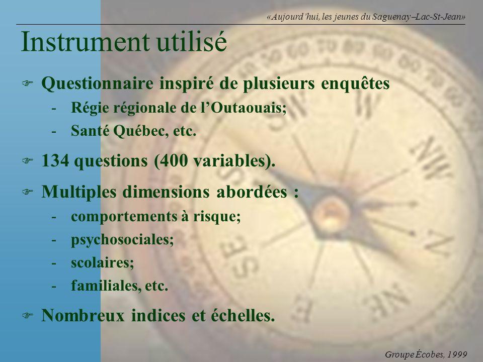 Groupe Écobes, 1999 «Aujourdhui, les jeunes du Saguenay Lac-St-Jean» Instrument utilisé F F Questionnaire inspiré de plusieurs enquêtes - -Régie régionale de lOutaouais; - -Santé Québec, etc.