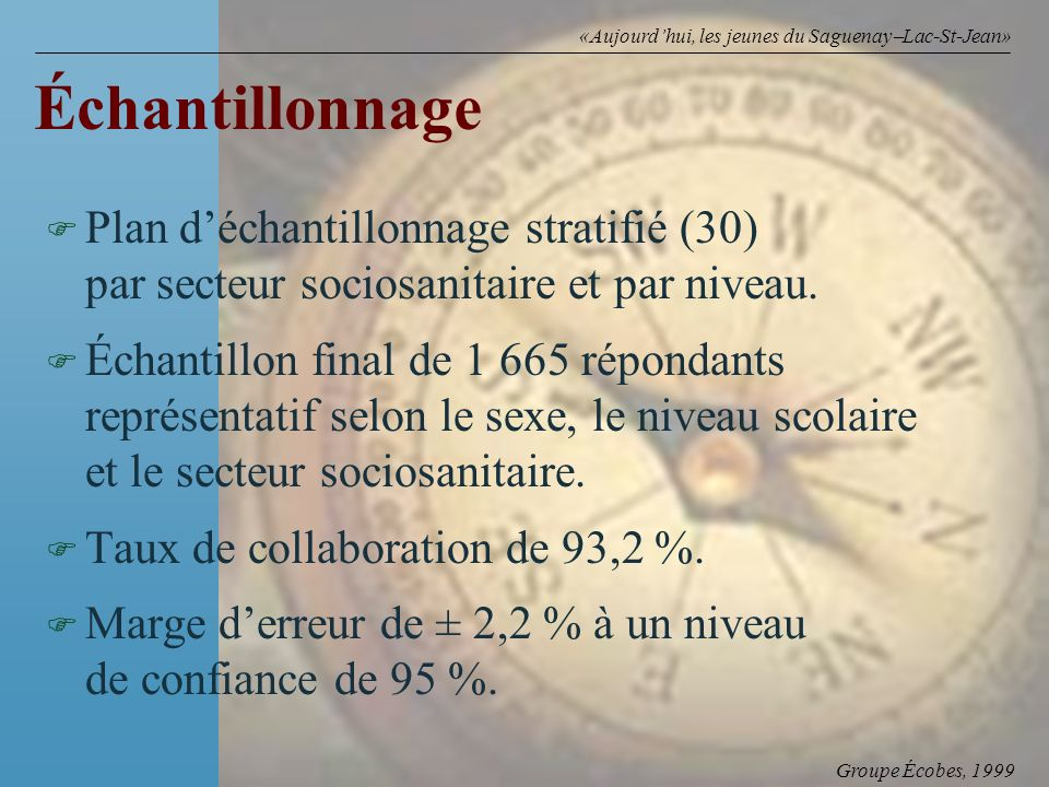 Groupe Écobes, 1999 «Aujourdhui, les jeunes du Saguenay Lac-St-Jean» Échantillonnage F F Plan déchantillonnage stratifié (30) par secteur sociosanitaire et par niveau.