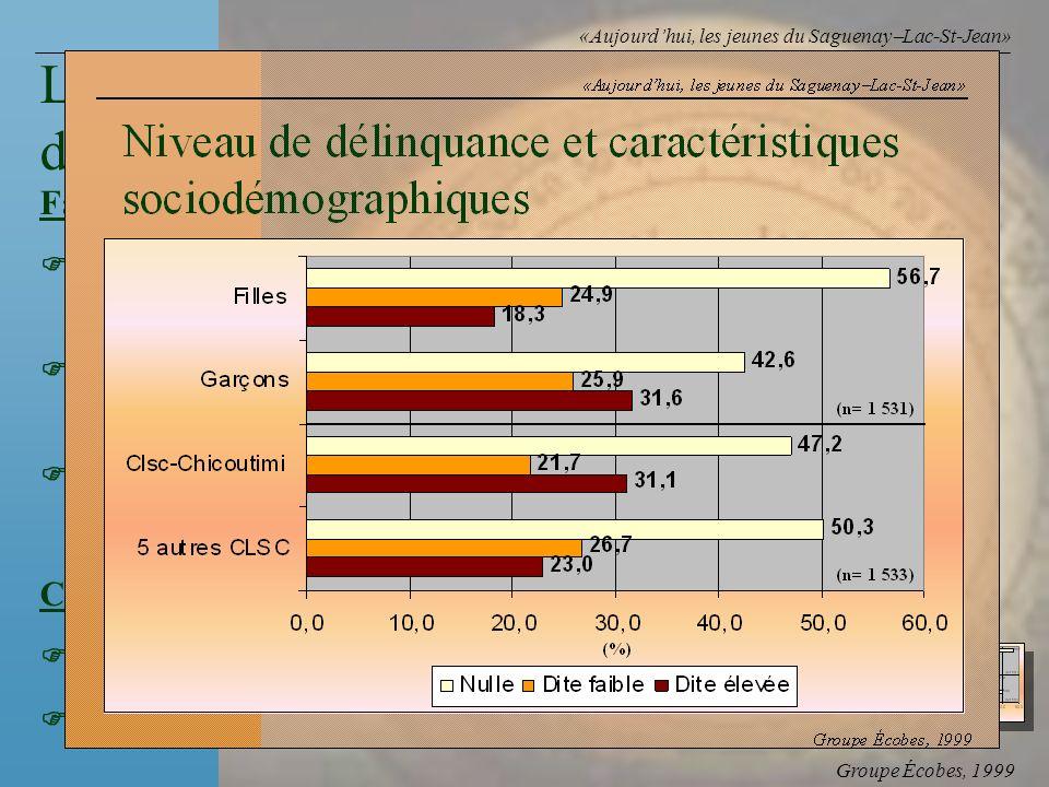 Groupe Écobes, 1999 «Aujourdhui, les jeunes du Saguenay Lac-St-Jean» FacteursRapports des cotes Penser que les jeunes nont pas dendroit2,1 où aller Co