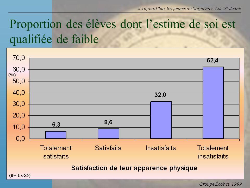 Groupe Écobes, 1999 «Aujourdhui, les jeunes du Saguenay Lac-St-Jean» Proportion des élèves dont lestime de soi est qualifiée de faible (%) (n= 1 655)