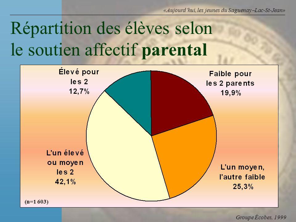 Groupe Écobes, 1999 «Aujourdhui, les jeunes du Saguenay Lac-St-Jean» Répartition des élèves selon le soutien affectif parental (n=1 603)