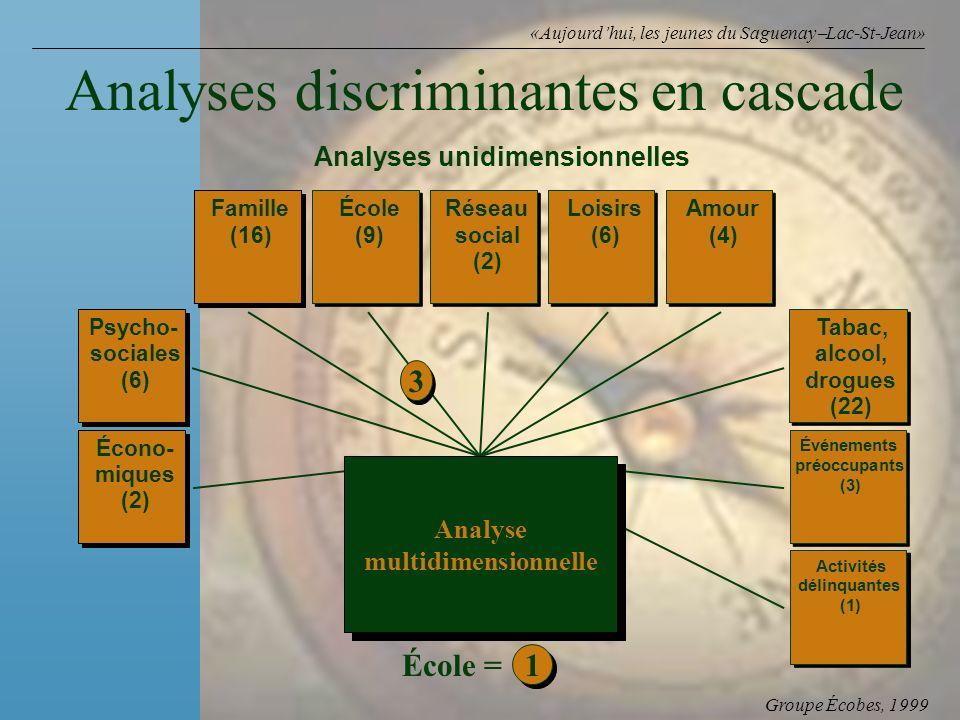 Groupe Écobes, 1999 «Aujourdhui, les jeunes du Saguenay Lac-St-Jean» Analyses discriminantes en cascade Psycho- sociales (6) Écono- miques (2) Famille (16) École (9) Réseau social (2) Loisirs (6) Amour (4) Tabac, alcool, drogues (22) Événements préoccupants (3) Activités délinquantes (1) 3 3 1 1 École = Analyses unidimensionnelles Analyse multidimensionnelle Analyse multidimensionnelle